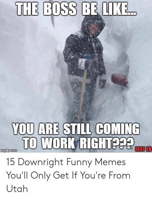 Funny Snow Memes: THE BOSS BE LIKE  YOU ARE STILL COMING  TO WORK RIGHT  FAST ED  imgfip.com 15 Downright Funny Memes You'll Only Get If You're From Utah