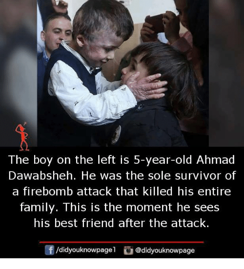 Best Friend, Family, and Memes: The boy on the left is 5-year-old Ahmad  Dawabsheh. He was the sole survivor of  a firebomb attack that killed his entire  family. This is the moment he sees  his best friend after the attack.  囝/didyouknowpagel  G@didyouknowpage