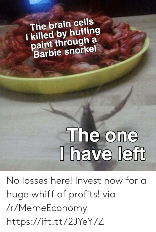 brain cells: The brain cells  I killed by huffing  paint through a  Barbie snorkel  The one  I have left No losses here! Invest now for a huge whiff of profits! via /r/MemeEconomy https://ift.tt/2JYeY7Z