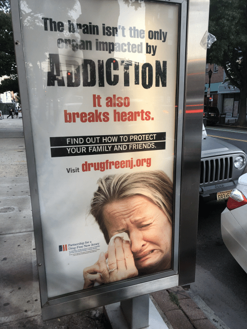 Trean: The brain isn't the only  Trean impacted by  ADDICTION  It also  breaks hearts.  FIND OUT HOW TO PROTECT  YOUR FAMILY AND FRIENDS.  drugfreenj.org  Visit  Jeep  New Jersey  693 F  Partnership for a  Drug-Free New Jersey