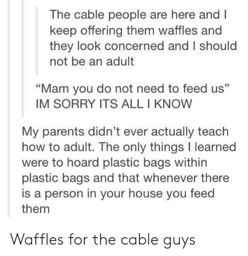 """waffles: The cable people are here and I  keep offering them waffles and  they look concerned and I should  not be an adult  """"Mam you do not need to feed us""""  IM SORRY ITS ALL I KNOW  My parents didn't ever actually teach  how to adult. The only things I learned  were to hoard plastic bags within  plastic bags and that whenever there  is a person in your house you feed  them Waffles for the cable guys"""