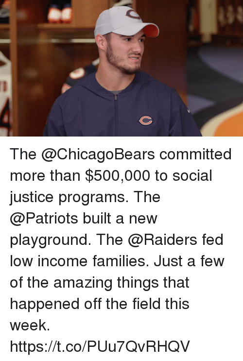 Memes, Patriotic, and Justice: The @ChicagoBears committed more than $500,000 to social justice programs. The @Patriots built a new playground. The @Raiders fed low income families.  Just a few of the amazing things that happened off the field this week. https://t.co/PUu7QvRHQV