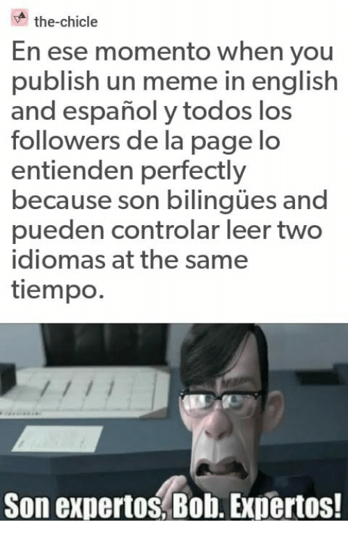 Meme, Espanol, and English: the-chicle  En ese momento when you  publish un meme in english  and español y todos los  followers de la page lo  entienden perfectly  because son bilingües and  pueden controlar leer two  idiomas at the same  tiempo.  Son expertos, Bob. Expertos!