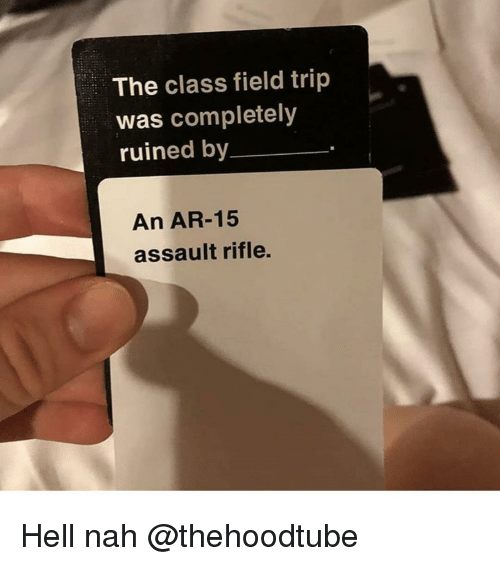 Field Trip, Memes, and Hell: The class field trip  was completely  ruined by  An AR-15  assault rifle. Hell nah @thehoodtube
