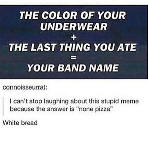 "Stupid Memes: THE COLOR OF YOUR  UNDERWEAR  THE LAST THING YOU ATE  YOUR BAND NAME  connoisseurrat:  I can't stop laughing about this stupid meme  because the answer is ""none pizza""  White bread"
