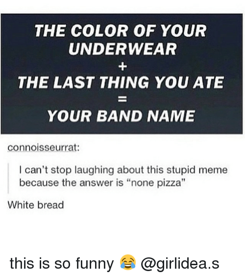 "Stupid Memes: THE COLOR OF YOUR  UNDERWEAR  THE LAST THING YOU ATE  YOUR BAND NAME  connoisseur rat:  I can't stop laughing about this stupid meme  because the answer is ""none pizza  White bread this is so funny 😂 @girlidea.s"
