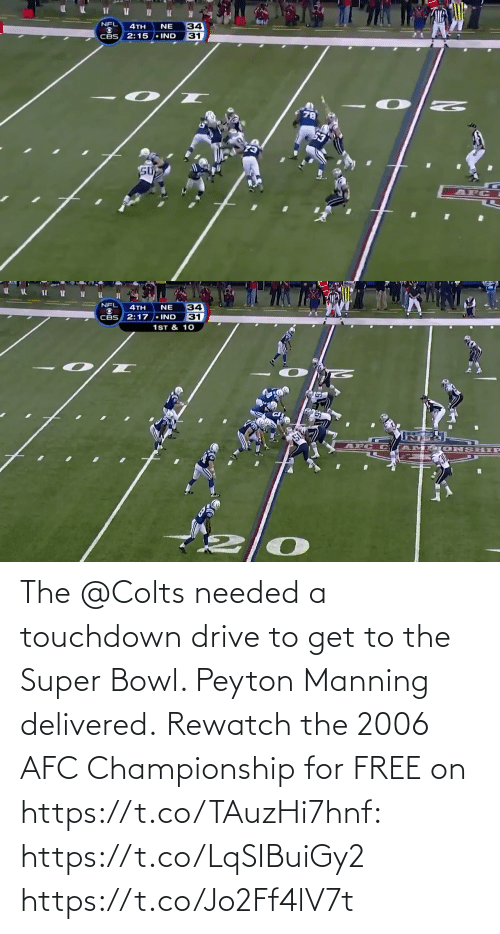 Championship: The @Colts needed a touchdown drive to get to the Super Bowl. Peyton Manning delivered.  Rewatch the 2006 AFC Championship for FREE on https://t.co/TAuzHi7hnf: https://t.co/LqSIBuiGy2 https://t.co/Jo2Ff4lV7t
