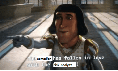 fallen: The comedian has fallen in love  with the risk analyst