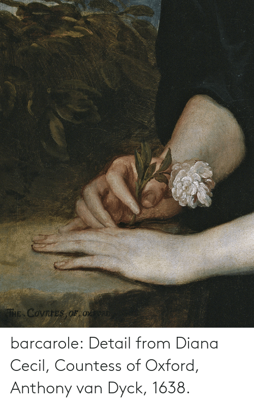 oxford: THE COvnreS OF Ox barcarole: Detail from Diana Cecil, Countess of Oxford, Anthony van Dyck, 1638.