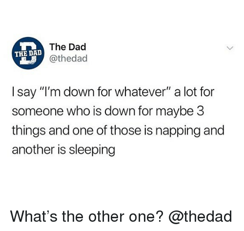 "napping: The Dad  @thedad  THE DAD  I say ""I'm down for whatever"" a lot for  someone who is down for maybe 3  things and one of those is napping and  another is sleeping What's the other one? @thedad"