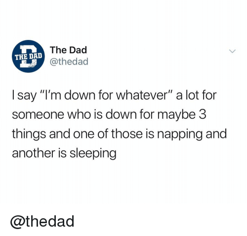 "napping: The Dad  @thedad  THE DAD  I say ""I'm down for whatever"" a lot for  someone who is down for maybe 3  things and one of those is napping and  another is sleeping @thedad"