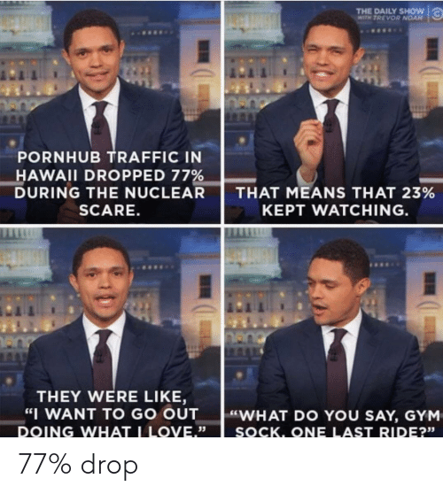 "daily show: THE DAILY SHOW  WITH TREVOR NOAN  PORNHUB TRAFFIC IN  HAWAII DROPPED 77%  DURING THE NUCLEAR  SCARE.  THAT MEANS THAT 23%  KEPT WATCHING  THEY WERE LIKE,  WANT TO GO OUT  ""WHAT DO YOU SAY, GYM  DOING WHAT LOVE.""  35  SOCK. ONE LAST RIDE?""  23s   77% drop"