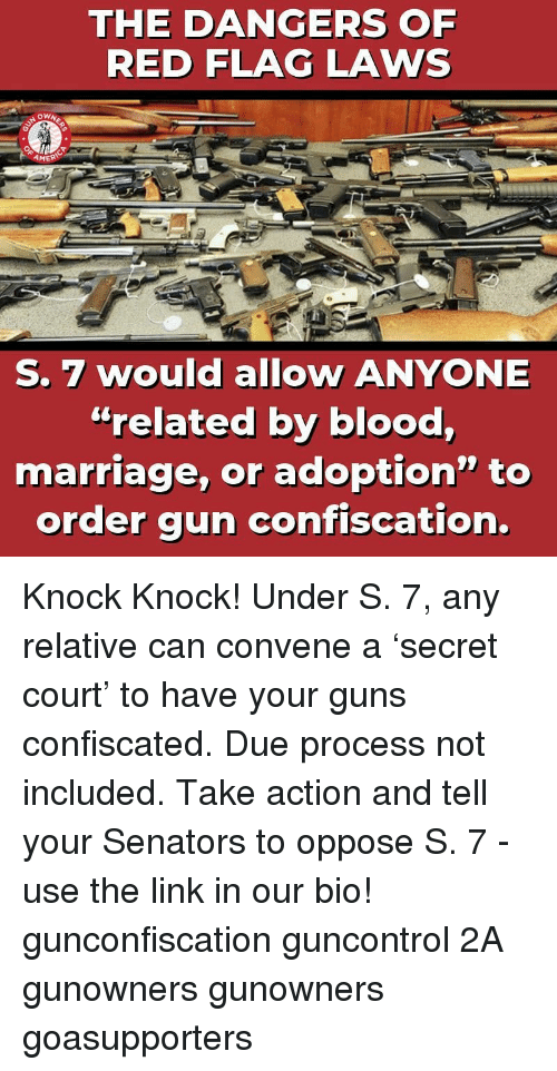 """Guns, Marriage, and Memes: THE DANGERS OF  RED FLAG LAWS  AMER  S. 7 would allow ANYONE  """"related by blood,  marriage, or adoption"""" to  order gun confiscation. Knock Knock! Under S. 7, any relative can convene a 'secret court' to have your guns confiscated. Due process not included. Take action and tell your Senators to oppose S. 7 - use the link in our bio! gunconfiscation guncontrol 2A gunowners gunowners goasupporters"""
