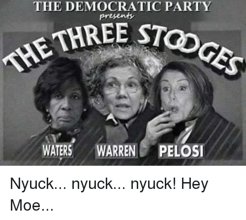 Democratic Party: THE DEMOCRATIC PARTY  STOGES  THRE c  THE  WATERS WARRENPELOSI Nyuck... nyuck...  nyuck! Hey Moe...