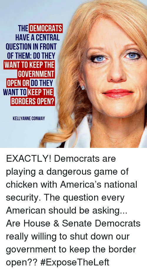 America, Conway, and Memes: THE DEMOCRATS  HAVE A CENTRAL  QUESTION IN FRONT  OF THEM: DO THEY  WANT TO KEEP THE  GOVERNMENT  OR DO THEY  WANT TO KEEP THE  BORDERS OPEN?  KELLYANNE CONWAY EXACTLY! Democrats are playing a dangerous game of chicken with America's national security.  The question every American should be asking... Are House & Senate Democrats really willing to shut down our government to keep the border open?? #ExposeTheLeft