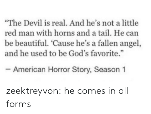 "american horror: The Devil is real. And he's not a little  red man with horns and a tail. He can  be beautiful. 'Cause he's a fallen angel,  and he used to be God's favorite.""  - American Horror Story, Season 1 zeektreyvon:  he comes in all forms"