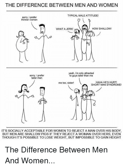 short man: THE DIFFERENCE BETWEEN MEN AND WOMEN  TYPICAL MALE ATTITUDE!  sorry, i prefer  thinner women  WHAT A JERK!  HOW SHALLOW  yeah, im only attracted  sorry, prefer  to guys taller than me  taller men  HAHA HES HURT!  me too, sister!  SHORT MAN SYNDROME!  IT'S SOCIALLY ACCEPTABLE FOR WOMEN TO REJECT A MAN OVER HIS BODY,  BUT MEN ARE SHALLOW PIGSIF THEY REJECT A WOMAN OVER HERS, EVEN  THOUGH ITS POSSIBLE TO LOSE WEIGHT, BUT IMPOSSIBLE TO GAIN HEIGHT The Difference Between Men And Women...