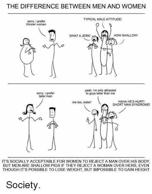 short man: THE DIFFERENCE BETWEEN MEN AND WOMEN  TYPICAL MALE ATTITUDE!  sorry, i prefer  thinner women  WHAT A JERK!  HOW SHALLOW!  yeah, im only attracted  sorry, prefer  to guys taller than me  taller men  HAHA HE'S HURT!  me too, sister!  SHORT MAN SYNDROME!  IT'S SOCIALLY ACCEPTABLE FOR WOMEN TO REJECT A MAN OVER HIS BODY,  BUT MEN ARE SHALLOW PIGSIF THEY REJECT A WOMAN OVER HERS, EVEN  THOUGH ITS POSSIBLE TO LOSE WEIGHT, BUT IMPOSSIBLE TO GAIN HEIGHT Society.