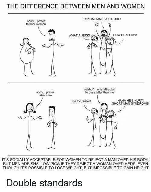 short man: THE DIFFERENCE BETWEEN MEN AND WOMEN  TYPICAL MALE ATTITUDE!  sorry, i prefer  thinner women  HOW SHALLOW  WHAT A JERK!  yeah, im only attracted  sorry, i prefer  to guys taller than me  taller men  HAHA HE'S HURT!  me too, sister!  SHORT MAN SYNDROME!  IT'S SOCIALLY ACCEPTABLE FOR WOMEN TO REJECT A MAN OVER HIS BODY.  BUT MEN ARE SHALLOW PIGS IF THEY REJECT A WOMAN OVER HERS, EVEN  THOUGH ITS POSSIBLE TO LOSE WEIGHT, BUT IMPOSSIBLE TO GAIN HEIGHT Double standards