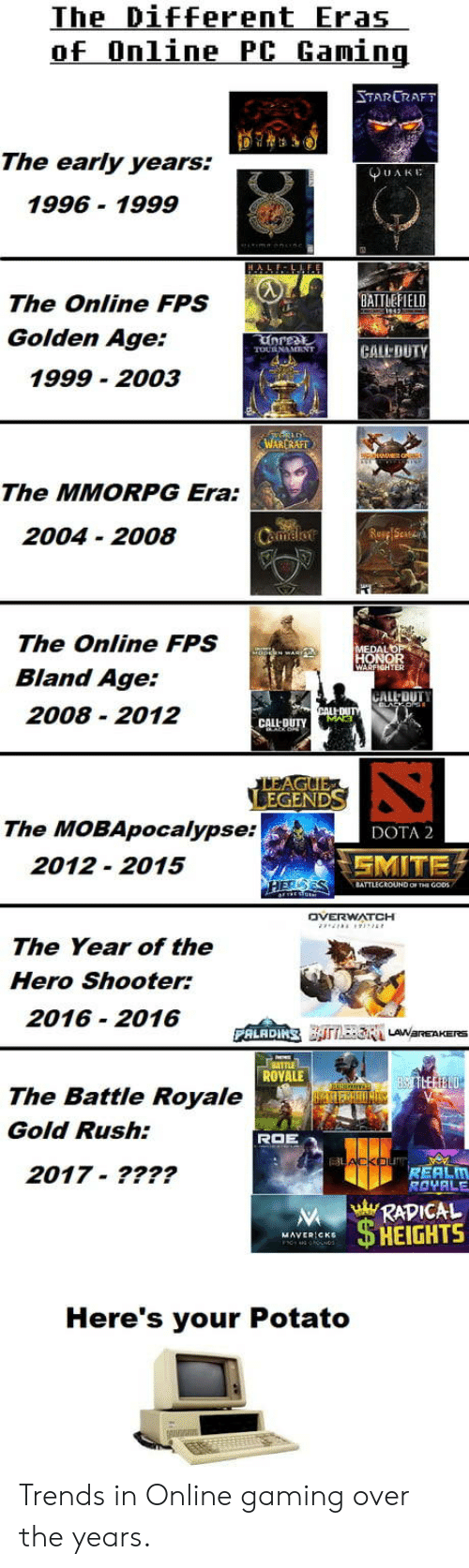 golden age: The Different Eras  of Online PC Gamin  TARCRAFT  The early years.  UAKE  1996- 1999  BATTEFIELD  The Online FPS  Golden Age:  1999 2003  AR  The MMORPG Era:  2004 - 2008  The Online FPS  Bland Age:  2008 2012  ER  CALL DUTY  The MOBApocalypse:  DOTA 2  2012-2015  MITE  TTLECROUND OF THE GOD  OVERWATCH  The Year of the  Hero Shooter:  2016 2016D E  ROVALE  The Battle Royale  Gold Rush:  2017-????  REALM  RAVALE  RADICAL  HEIGHTS  Here's your Potato Trends in Online gaming over the years.