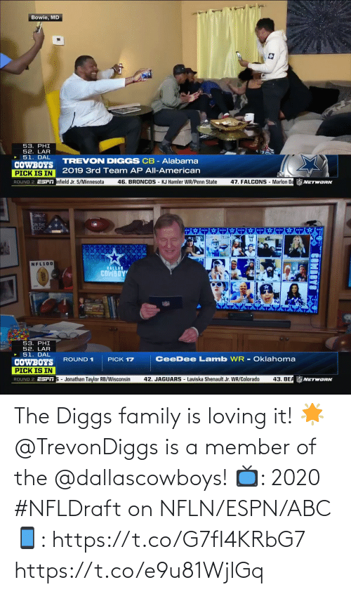 ESPN: The Diggs family is loving it! 🌟  @TrevonDiggs is a member of the @dallascowboys!  📺: 2020 #NFLDraft on NFLN/ESPN/ABC 📱: https://t.co/G7fI4KRbG7 https://t.co/e9u81WjlGq