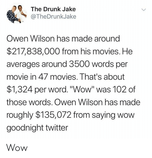 """Drunk, Movies, and Twitter: The Drunk Jake  @TheDrunkJake  Owen Wilson has made around  $217,838,000 from his movies. He  averages around 3500 words per  movie in 47 movies. That's about  $1,324 per word.""""Wow"""" was 102 of  those words. Owen Wilson has made  roughly $135,072 from saying wow  goodnight twitter Wow"""