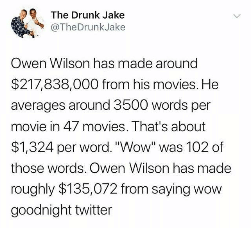 """Dank, Drunk, and Movies: The Drunk Jake  @TheDrunkJake  Owen Wilson has made around  $217,838,000 from his movies. He  averages around 3500 words per  movie in 47 movies. That's about  $1,324 per word. """"Wow"""" was 102 of  those words. Owen Wilson has made  roughly $135,072 from saying wow  goodnight twitter"""