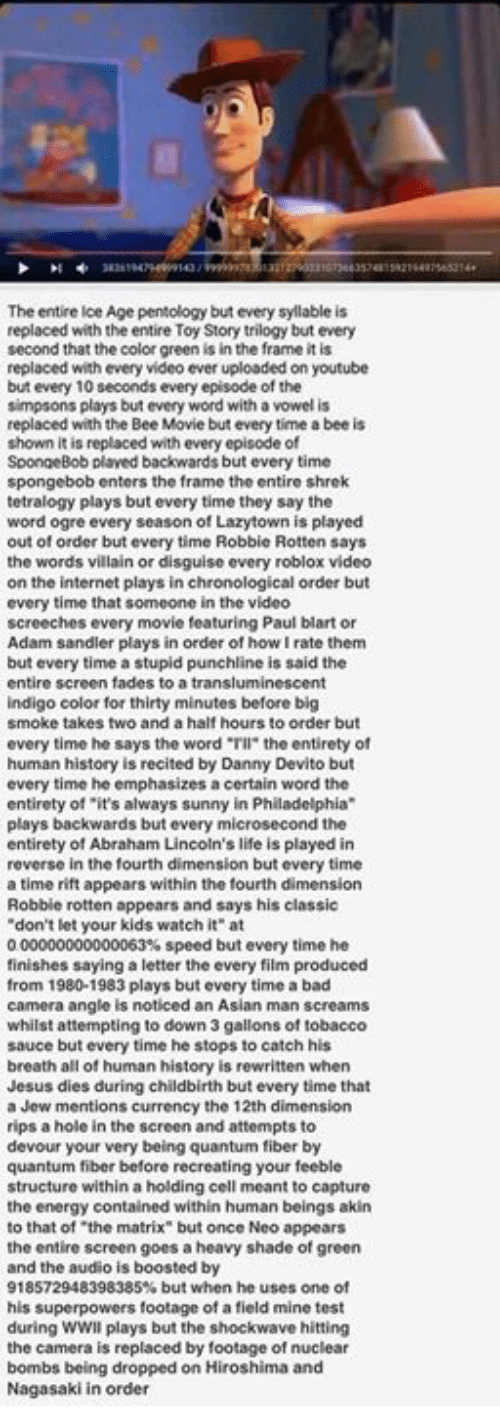 """Its Always Sunny In: The entire Ice Age pentology but every syllable is  replaced with the entire Toy Story trilogy but every  second that the color green is in the frame it is  replaced with every video ever uploaded on youtube  but every 10 seconds every episode of the  simpsons plays but every word with a vowel is  replaced with the Bee Movie but every time a bee is  shown it is replaced with every episode of  SpongeBob plaved backwards but every time  spongebob enters the frame the entire shrek  tetralogy plays but every time they say the  word ogre every season of Lazytown is played  out of order but every time Robbie Rotten says  the words villain or disguise every roblox video  on the internet plays in chronological order but  every time that someone in the video  screeches every movie featuring Paul blart or  Adam sandler plays in order of how rate them  but every time a stupid punchline is said the  entire screen fades to a transluminescent  indigo color for thirty minutes before big  smoke takes two and a half hours to order but  every time he says the word """"Tll"""" the entirety of  human history is recited by Danny Devito but  every time he  emphasizes acertain word the  entirety of """"it's always sunny in Philadelphia  plays backwards but every mic  rosecond the  entirety of Abraham Lincoln's life is played in  reverse in the fourth dimension but every time  a time rift appears within the fourth dimension  Robbie rotten appears and says his classic  don't let your kids watch it"""" at  000000000000063% speed but every time he  finishes saying a letter the every film produced  from 1980-1983 plays but every time a bad  camera angle is noticed an Asian man screams  whilst attempting to down 3 gallons of tobacco  sauce but every time he stops to catch his  breath all of human history is rewritten when  Jesus dies during childbirth but every time that  a Jew mentions currency the 12th dimension  rips a hole in the screen and attempts to  devour your very being quant"""