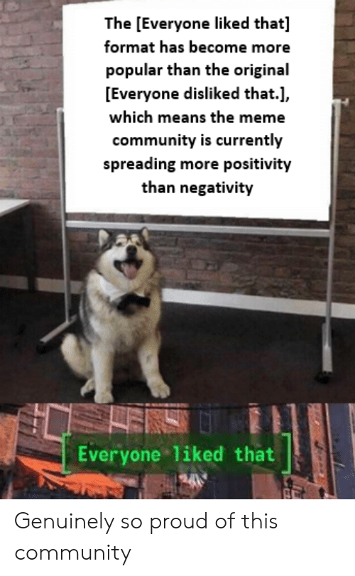 Community, Meme, and Proud: The [Everyone liked that]  format has become more  popular than the original  [Everyone disliked that.],  which means the meme  community is currently  spreading more positivity  than negativity  ENS  Everyone liked that  tifde Genuinely so proud of this community