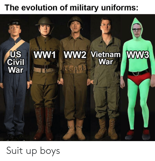 Evolution: The evolution of military uniforms:  WW1 WW2 Vietnam WW3  War  US  Civil  War Suit up boys