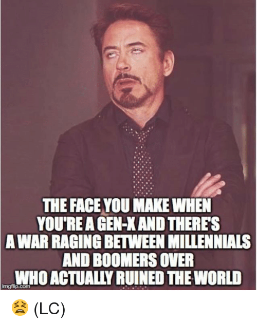 Face You Make When: THE FACE YOU MAKE WHEN  YOU'RE A GEN-X AND THERES  WAR RAGING BETWEEN MILLENNIALS  AND BOOMERS OVER  WHO ACTUALLY RUINED THE WORLD  A  Imgilip.com 😫 (LC)