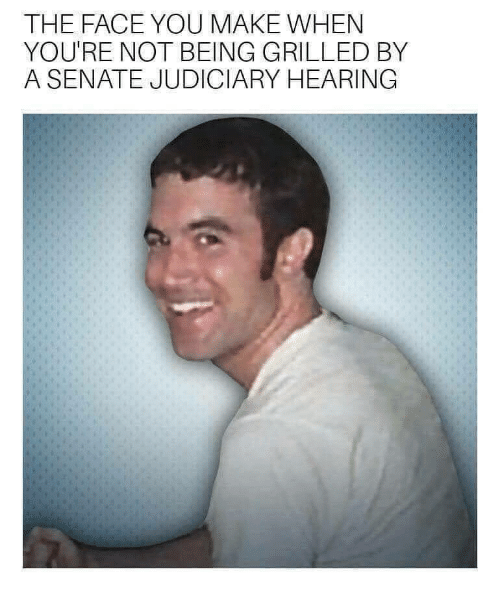 Face You Make When: THE FACE YOU MAKE WHEN  YOU'RE NOT BEING GRILLED BY  A SENATE JUDICIARY HEARING