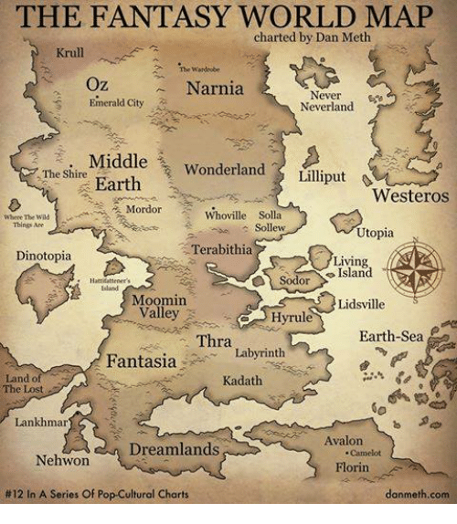 moomin: THE FANTASY WORLD MAP  charted by Dan Meth  Krull.  Wardrobe  Oz  Narnia  Never  Emerald City  Neverland  i. Middle  Wonderland  The Shire  Lilliput  Earth  Westeros  Mordor Whoville Solla  Where The  Things Are  Sollew  Utopia  Terabithia  Dinotopia  Living  Sodor  Moomin  Lidsville  Valley  Hyrul  Earth Sea  Thra  Fantasia  Labyrinth  Land of  Kadath  Lankhmar  Avalon  Dreamlands  Nehwon  Florin  #12 In A Series Of Pop-Cultural Charts  danmeth.com