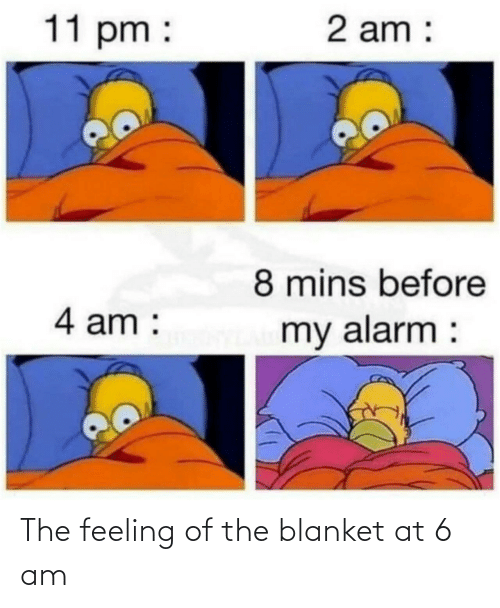 blanket: The feeling of the blanket at 6 am