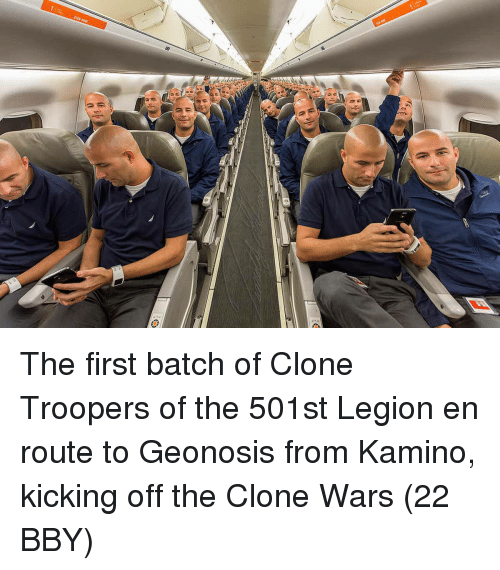 clone wars: The first batch of Clone Troopers of the 501st Legion en route to Geonosis from Kamino, kicking off the Clone Wars (22 BBY)