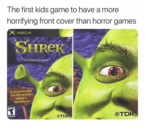 horror games: The first kids game to have a more  horrifying front cover than horror games  SHREK  G PolarSaurusRex  All new environmonts  Plus, now charscters  designed by  Todd McFariane