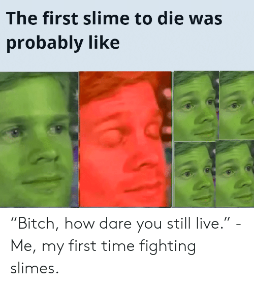 """My First Time: The first slime to die was  probably like """"Bitch, how dare you still live."""" -Me, my first time fighting slimes."""