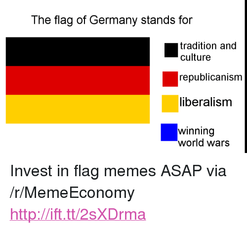 """Flag Memes: The flag of Germany stands for  tradition and  culture  republicanism  liberalisnm  winning  world wars <p>Invest in flag memes ASAP via /r/MemeEconomy <a href=""""http://ift.tt/2sXDrma"""">http://ift.tt/2sXDrma</a></p>"""