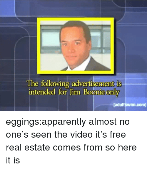 Apparently, Target, and Tumblr: The following advertisement is  intended for Jim Boonie only  adultswim.com eggings:apparently almost no one's seen the video it's free real estate comes from so here it is