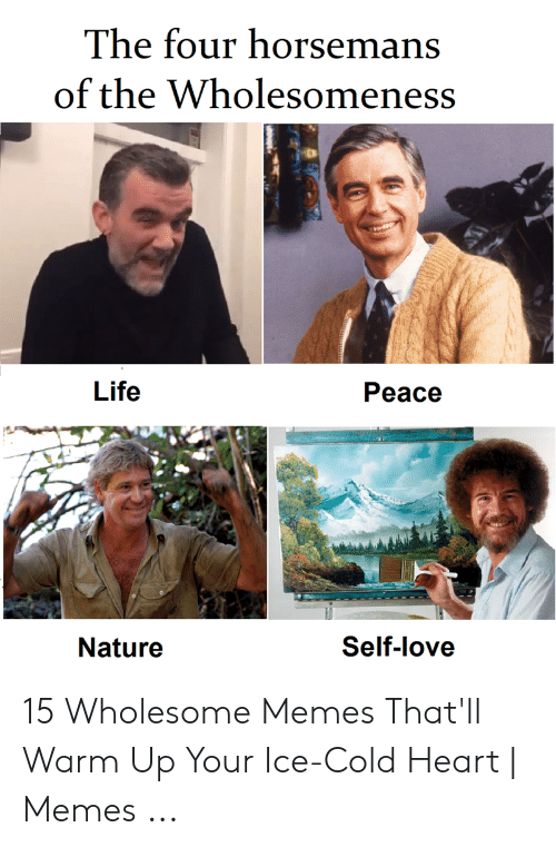 Life, Love, and Memes: The four horsemans  of the Wholesomeness  Life  Peace  Nature  Self-love 15 Wholesome Memes That'll Warm Up Your Ice-Cold Heart | Memes ...