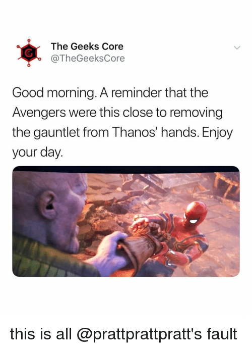 Good Morning, Avengers, and Good: The Geeks Core  @TheGeeksCore  Good morning. A reminder that the  Avengers were this close to removing  the gauntlet from Thanos' hands. Enjoy  your day. this is all @prattprattpratt's fault