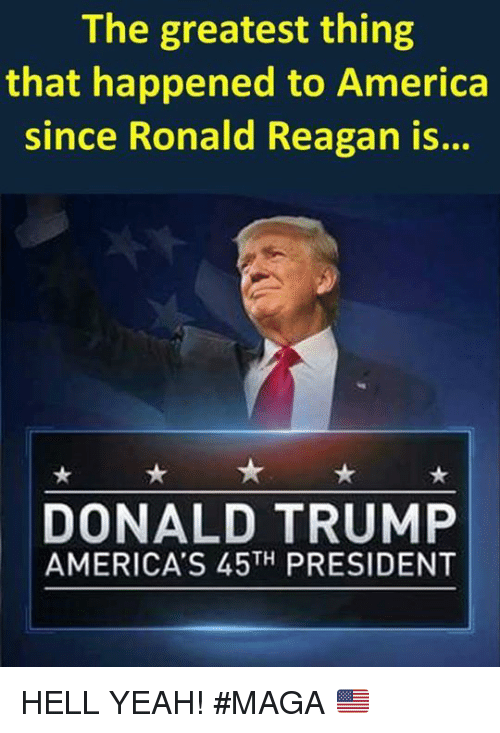 America, Donald Trump, and Memes: The greatest thing  that happened to America  since Ronald Reagan is...  DONALD TRUMP  AMERICA'S 45TH PRESIDENT HELL YEAH!  #MAGA 🇺🇸️