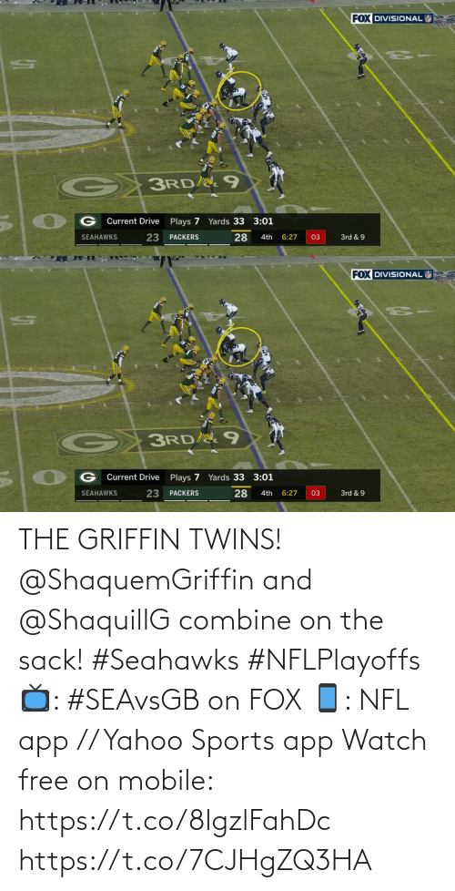 Seahawks: THE GRIFFIN TWINS!  @ShaquemGriffin and @ShaquillG combine on the sack! #Seahawks #NFLPlayoffs  📺: #SEAvsGB on FOX 📱: NFL app // Yahoo Sports app Watch free on mobile: https://t.co/8lgzlFahDc https://t.co/7CJHgZQ3HA