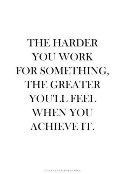 Work, Com, and You: THE HARDER  YOU WORK  FOR SOMETHING  THE GREATER  YOU'LL FEEL  WHEN YOU  ACHIEVE IT  CONTEXTUALPOSTSS coM