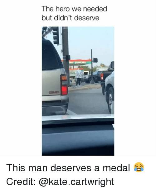 Memes, 🤖, and Hero: The hero we needed  but didn't deserve This man deserves a medal 😂 Credit: @kate.cartwright