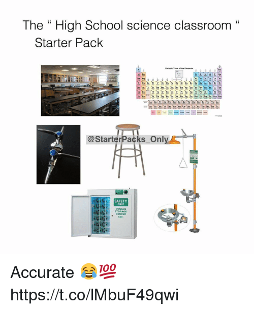 """safety first: The """" High School science classroom""""  C0  Starter Pack  Periodic Table of the Elements  He  Li Be  P SCI Ar  K Ca Sc Ti V Cr Mn F Co NI C ZnGa Ge As SeBr Kr  Rb Sr Y Z Nb Mo Te Ru Rh Pd Ag Cd In Sn Sb TeXe  Eu Gd Tb  @StarterPacks Onl  SAFETY  FIRST  GOGGLE  STORAGE  CENTER  啪 Accurate 😂💯 https://t.co/lMbuF49qwi"""