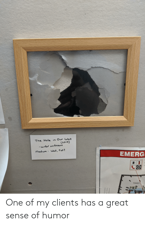 Reddit, Artist, and Medium: The Hole in Our Wall  (2019)  -artist unknown  medium : Wall, Fist?  EMERG  TENANCY One of my clients has a great sense of humor