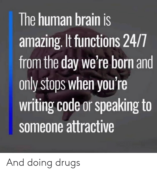 Is Amazing: The human brain is  amazing. It functions 24/7  from the day we're born and  only stops when you're  writing code or speaking to  someone attractive And doing drugs