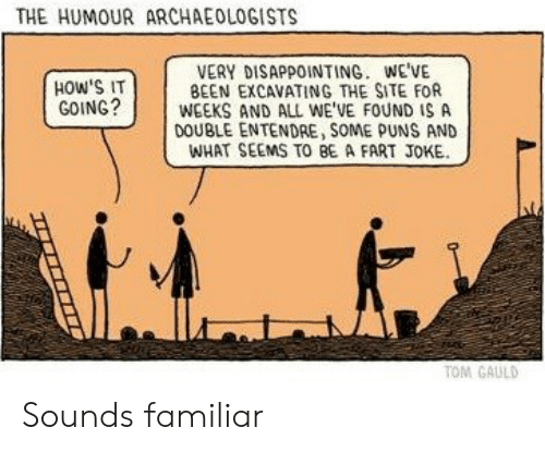 puns: THE HUMOUR ARCHAEOLOGISTS  VERY DISAPPOINTING. WE'VE  BEEN EXCAVATING THE SITE FOR  WEEKS AND ALL WE'VE FOUND IS A  DOUBLE ENTENDRE, SOME PUNS AND  WHAT SEEMS TO BE A FART JOKE  HOW'S IT  GOING?  TOM GAULD Sounds familiar