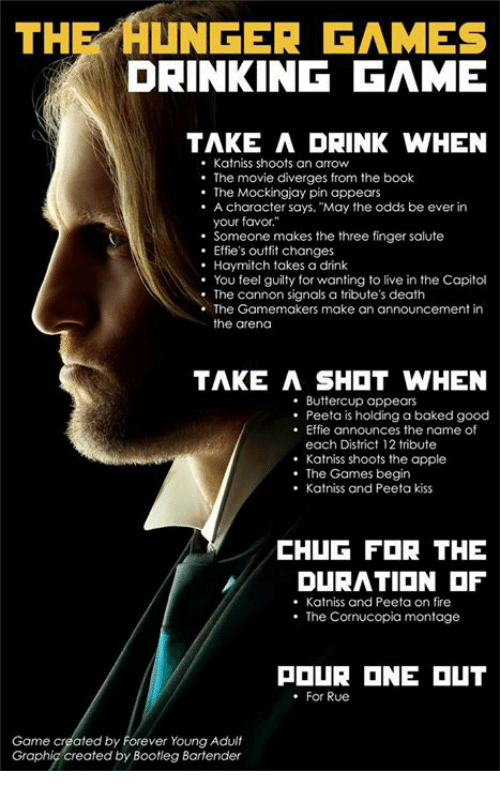 The HUNGER GAMES DRINKING GAME TAKE a DRINK WHEN Katniss Shoots an